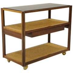 Serving Cart by Edward Wormley, Rosewood Frame, Black Slate Top, Cork Shelves