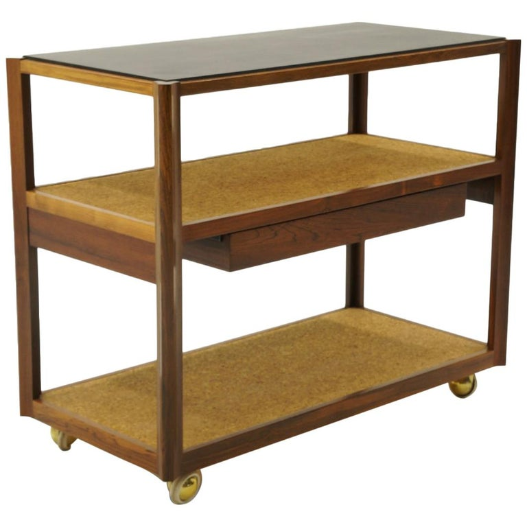 Serving Cart by Edward Wormley, Rosewood Frame, Black Slate Top, Cork Shelves For Sale