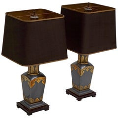 Pair of Table Lamps in Brass, Handmade in Italy