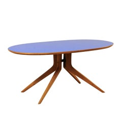 Italian Mid-Century Modern Elliptical Table with Retro Blue Top