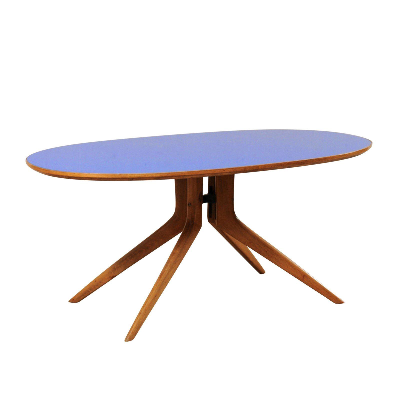 Beau Italian Mid Century Modern Elliptical Table With Retro Blue Top For Sale
