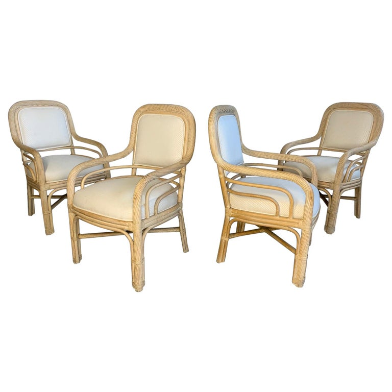 Set Of Four Twisted Rattan Dining Chairs For