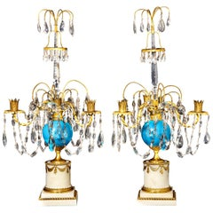 Pair of Fine Antique Russian Neoclassical Bronze, Opaline and Crystal Candelabra