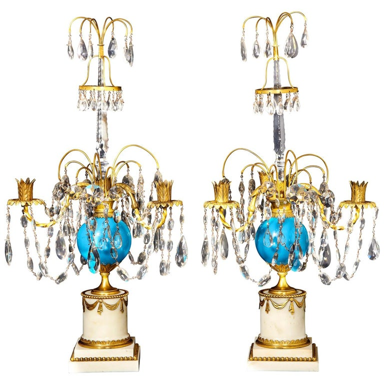 Pair of Fine Antique Russian Neoclassical Bronze, Opaline and Crystal Candelabra For Sale
