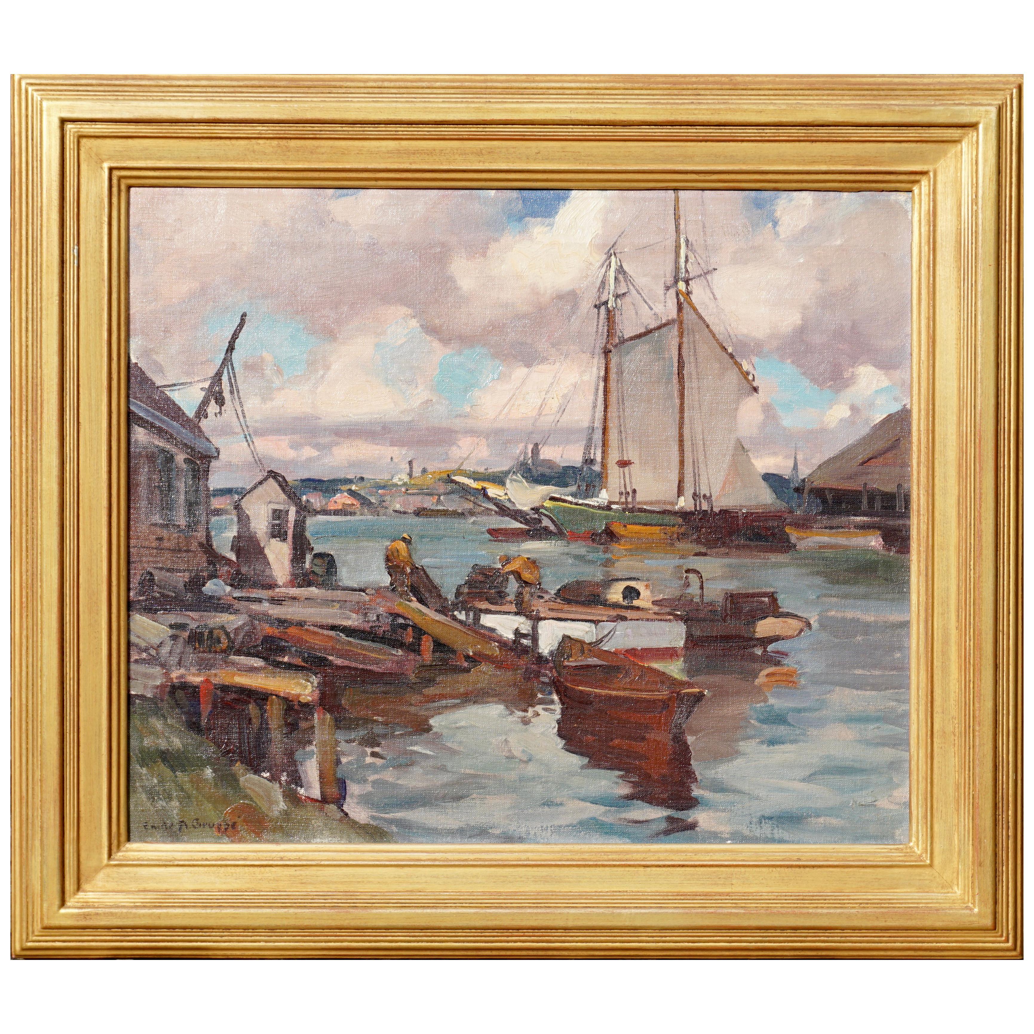 "Emile Albert Gruppe ""Drying Sails at Gloucester Harbor"""