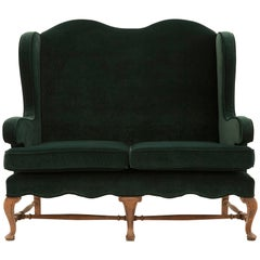 Early 20th Century Green Velvet Wingback Settee