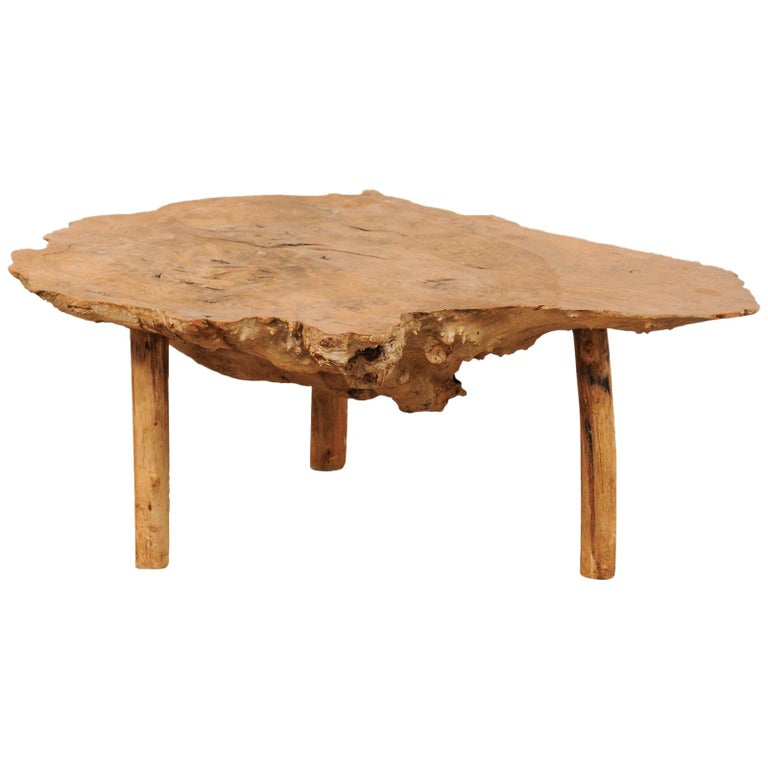 Vintage Burled Cypress Wood Live Edge Side Table At 1stdibs: Spanish Antique Live-Edge Burl Wood Coffee Table For Sale
