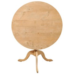19th Century Swedish Round Bleached Wood Tilt-Top Guéridon Table