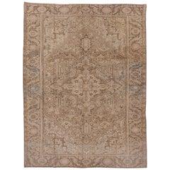 Antique Heriz Carpet, Neutral Palette