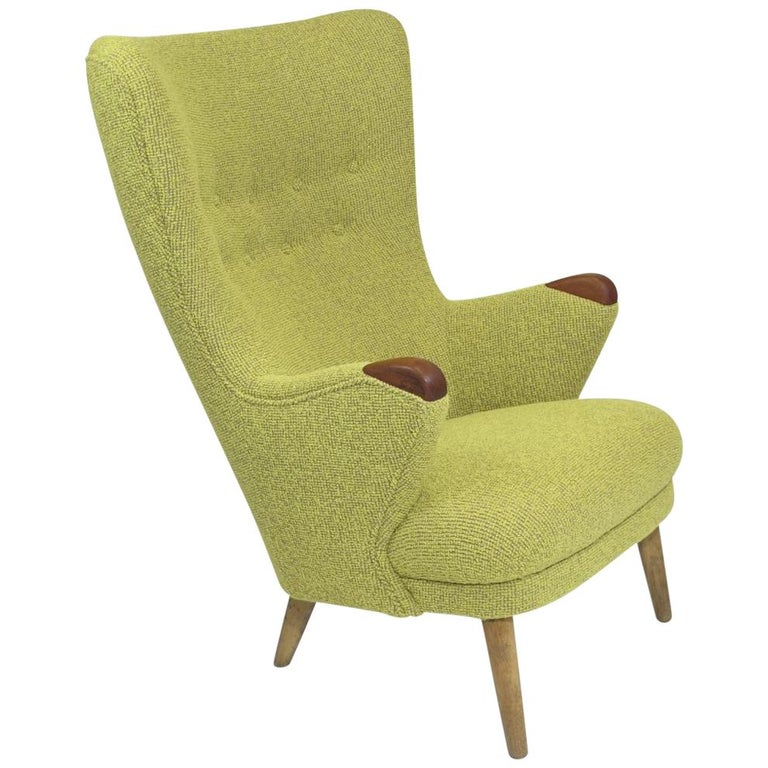 1950s Schiller Danish High Back Lounge Chair In Yellow For Sale At
