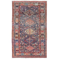 Antique Persian Bibikabad Rug with Diamond Medallions in Blue Background