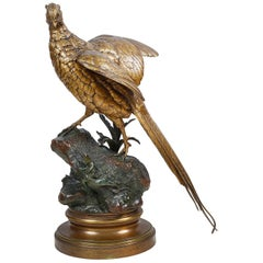 19th Century Life-Size Bronze Pheasant, by Alfred Dubucand