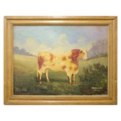J. Winters, Mid-19th Century Naive Signed Oil Painting of a Shorthorn Bull