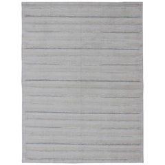 Large Scandinavian Flat-Weave Design Rug with Minimalist Stripe Design in Gray