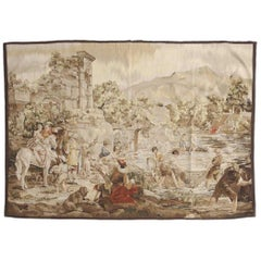 French Handwoven Landscape Tapestry, Early 20th Century