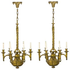 Pair of 19th Century French Ormolu Chandeliers, Possibly Linke