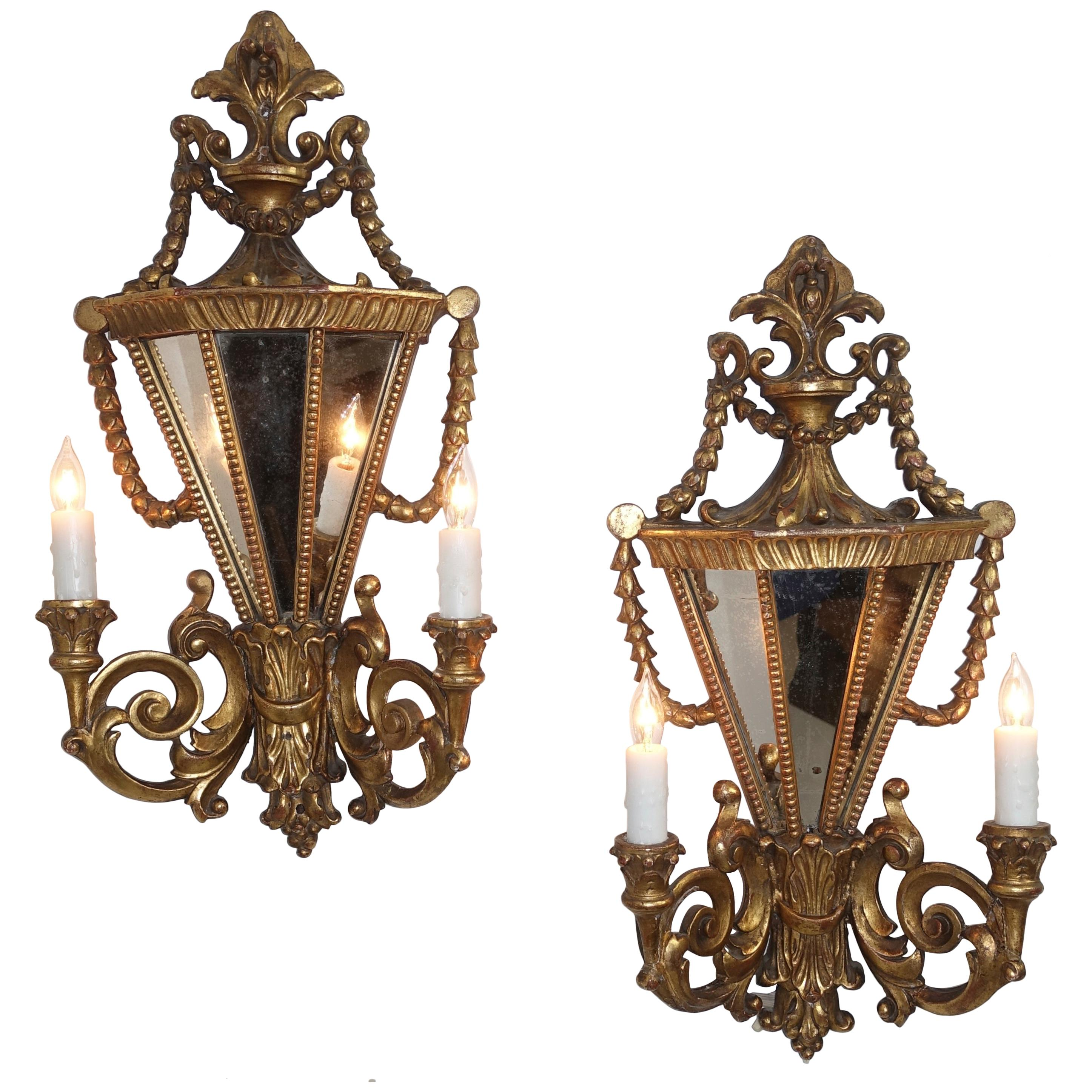 Pair of Italian Two-Light Giltwood and Mirror Wall Sconces