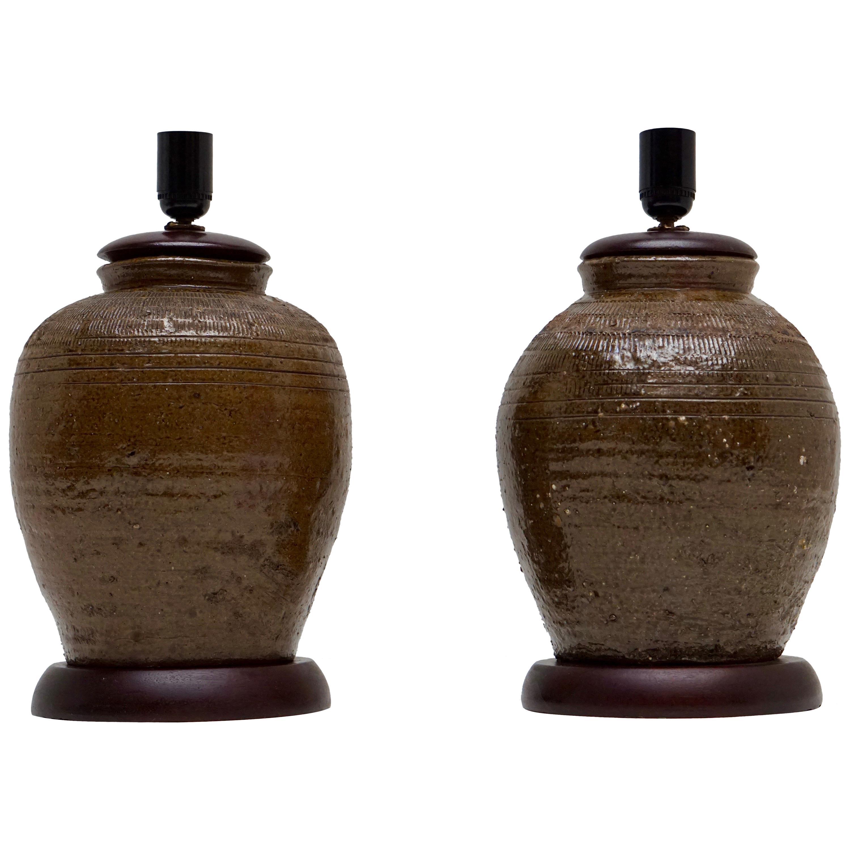 Pair of 19th Century, Ceramic Urn or Jar Table Lamps