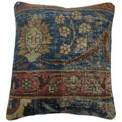 Blue Tabriz Rug Pillow