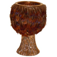 Ken Shores Art Pottery Chalice Form Fetish Pot with Applied Feathers