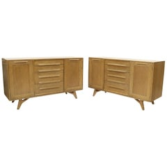 Two Door 4 Drawer Limed Cerused Solid Oak Board Cabinet Credenza Dresser