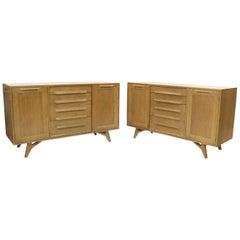 Two Door 4 Drawer Limed Cerused Solid Oak Board Cabinet Credenza Dresser