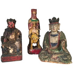 Collection of 3 Carved Wooded Asian Deities