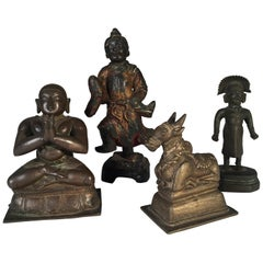 Collection of 4 Asian Bronze and Iron Deity Figures