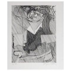 """Cubist Jacques Villon Original Etching, 1951, """"Figure de Femme"""""""