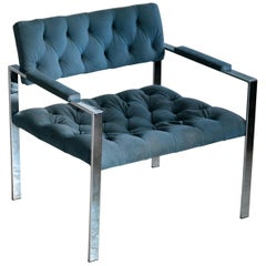Harvey Probber Style Mid-Century Modern Chrome and Tufted Velvet Lounge Chair
