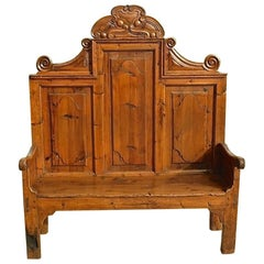 18th Century Neoclassical Spanish High Back Bench, Honey Pine