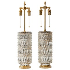 Hollywood Regency Mercury Glass Diamond Pattern Lamps