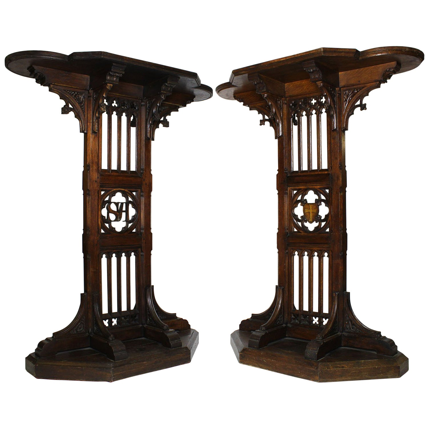 Pair of Tall French 19th Century Gothic Revival Style Carved Oak Church Pedestal