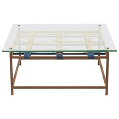 Glass and Marbled Rust Coffee Table with Cognac and Indigo Belts