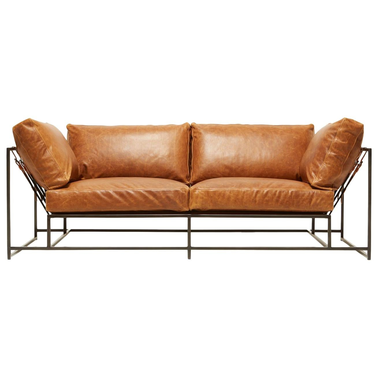 Potomac Tan Leather and Blackened Steel Two-Seat Sofa