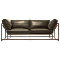 Valhalla Granite Leather and Marbled Rust Two-Seat Sofa