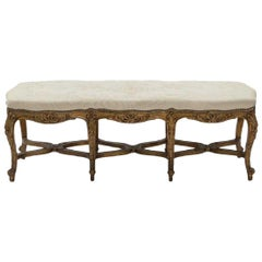 French Louis XV Style Carved Giltwood Bench, 19th Century