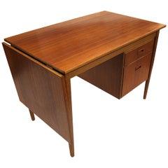Vintage 1960s Danish Modern Arne Vodder Style Convertible Drop-Leaf Teak Desk