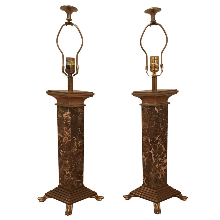 Chapman Brown Marble and Brass Lamps For Sale