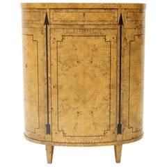 Tall Oval Burl Wood One Drawer Neoclassical Centre Cabinet by Baker Furniture