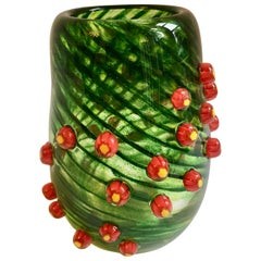 Green Glass Art Vase