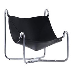 Baffo Armchair in Black with Chrome Frame by Busnelli