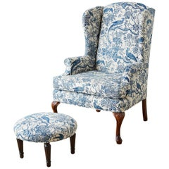 Chinoiserie Upholstered Queen Anne Wingback with Ottoman