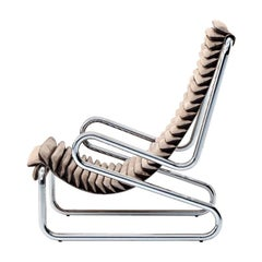 Armadillo Armchair in Cream Fabric Seat with Chrome Frame by Busnelli
