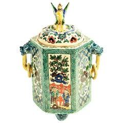 Rare Japanese Hexagonal Kutani Pottery Incense Burner Meiji Period