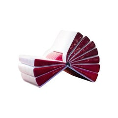 Libro Armchair in White and Maroon Ecoleather by Busnelli