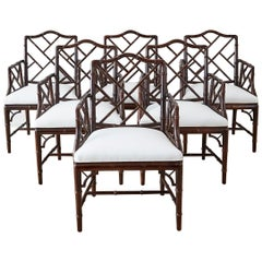 Chinese Chippendale Chocolate Lacquered Faux Bamboo Dining Chairs