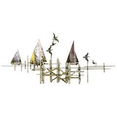 Paul Evans Style Brutalist Seascape Sailboat Metal Sculpture Wall Art