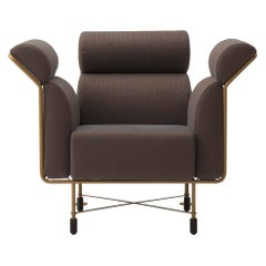 Agevole Armchair in Dark Chocolate Fabric with Copper Frame by Busnelli
