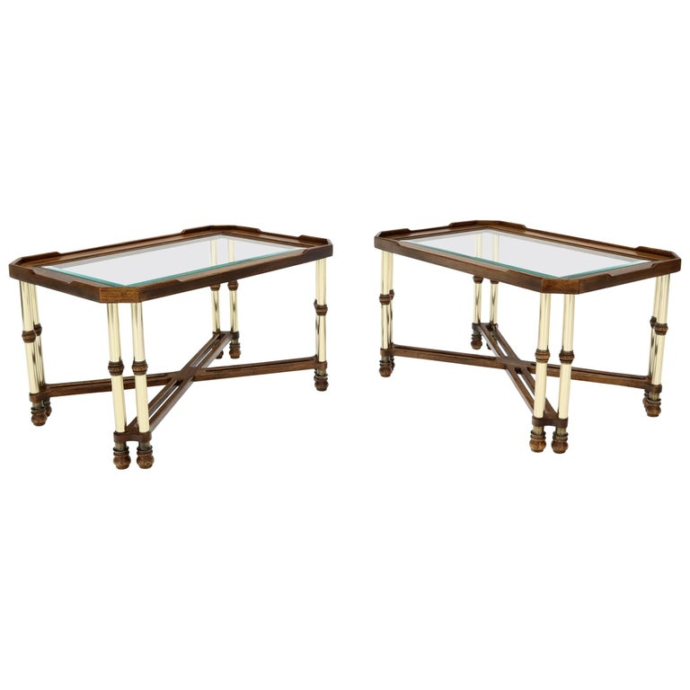 Pair of Mid-Century Modern X-Bases Glass Tops End Side Tables For Sale
